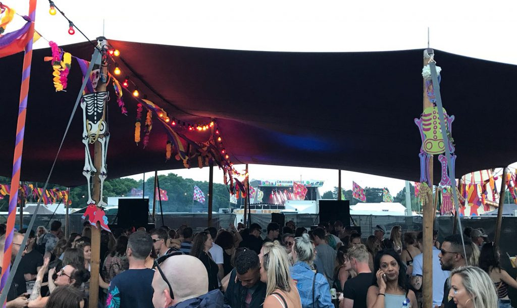 The Sugar Skull stage at Common People Southampton - a stretch tined lined with fairy lights