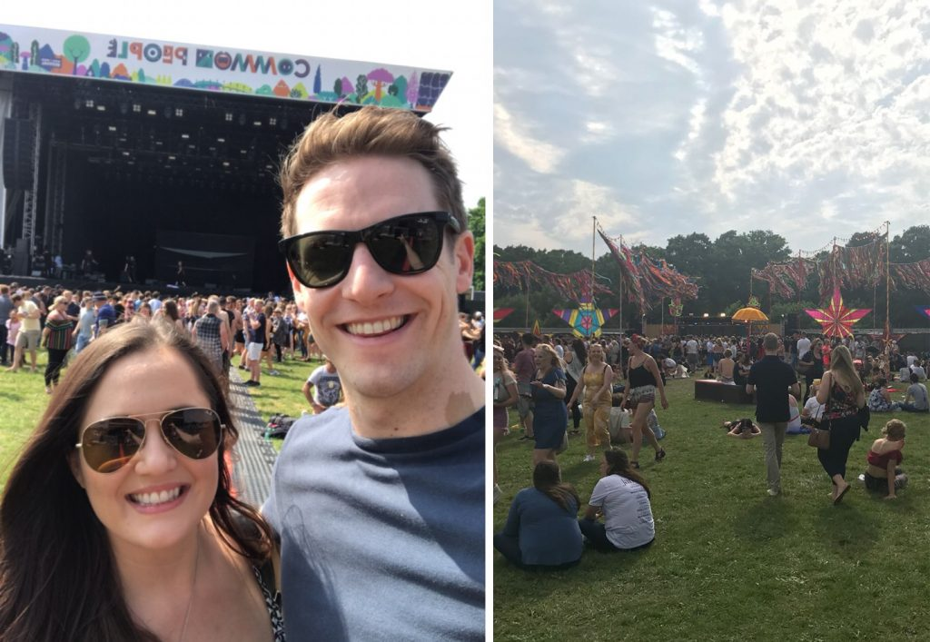 Andy and Zoe smiling for a sunny selfie in front of the Common People main stage, and a picture of the grass with lots of festival goers sat enjoying the sunshine