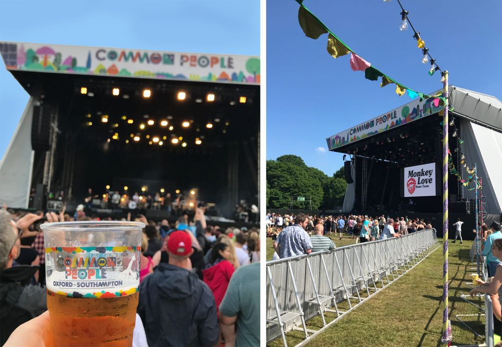 More pictures of the main stage at Common People, one holding a pint showing the Common People logo on the cup