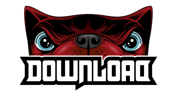Download Festival logo with red Download Dog
