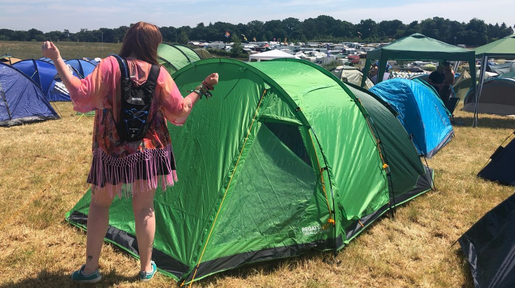 Me showing off my new Regatta Vester 4 tent at Noisily festival, wearing a fringed kimono in the sunshine