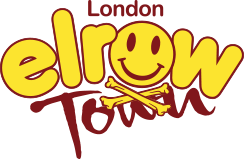 Yellow and deep red logo for Elrow Town London