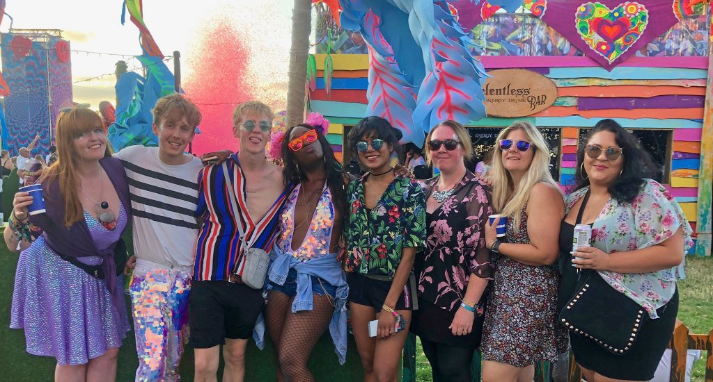 Final colourful group shot of all my friends near the Relentless bus at Elrow Town London