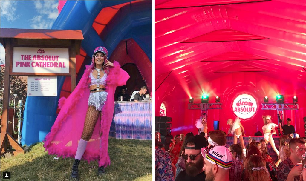 Emily is stood in front of the Absolut Pink Cathedral sign wearing a pink fluffy kimono and pink hat, and then inside the inflatable pink church we see the Elrow x Absolut sign and dancers wearing white