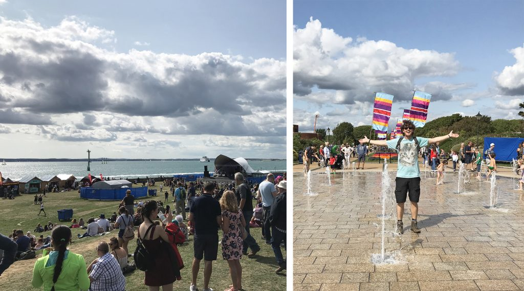 The view from the hill looking down to the Castle stage and out into the harbour, and Stafford standing in a blue cat t-shirt in the middle of a walk-in fountain, both with blue skies above